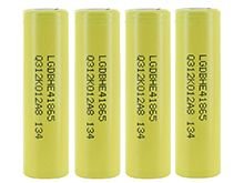 BUNDLE: 4 x LG HE4 INR 18650 2500mAh 3.7V Unprotected High-Drain 20A Lithium Manganese (LiMn2O4) Flat Top Batteries