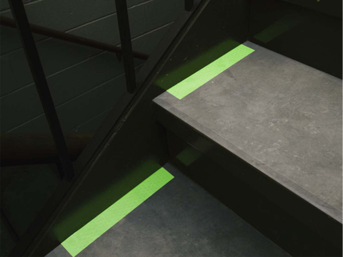 CyFlect tape on stairs