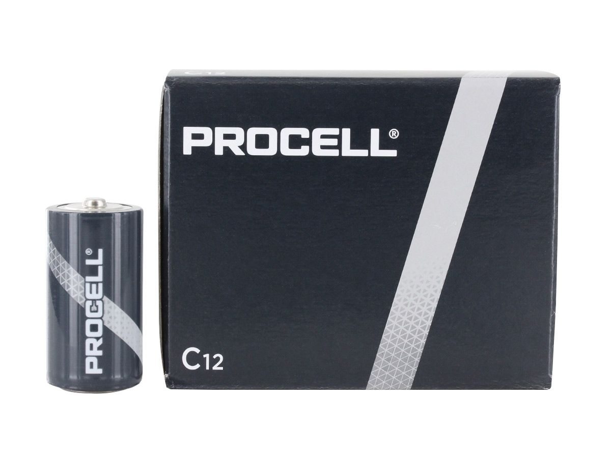 duracell procell c battery next to 12 count box