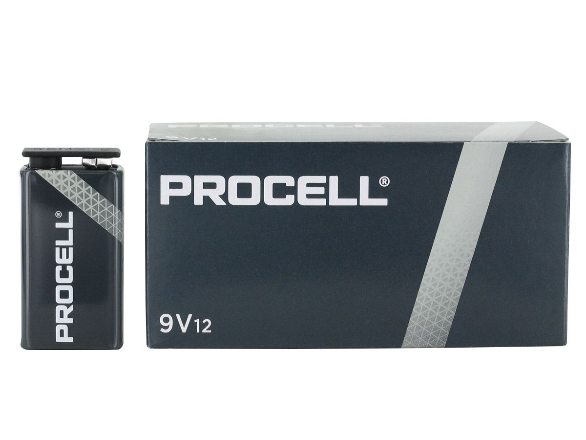 Duracell Procell 9V batteries in box with open lid