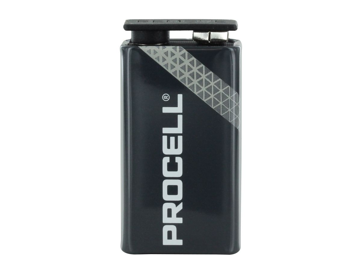 Duracell Procell 9V battery back side angle