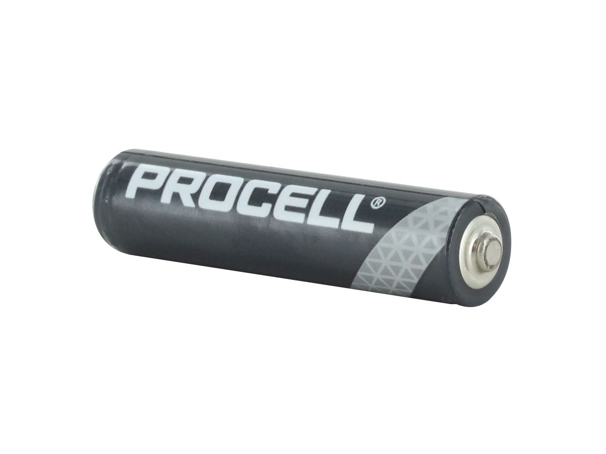 Duracell Procell AAA battery back side angle