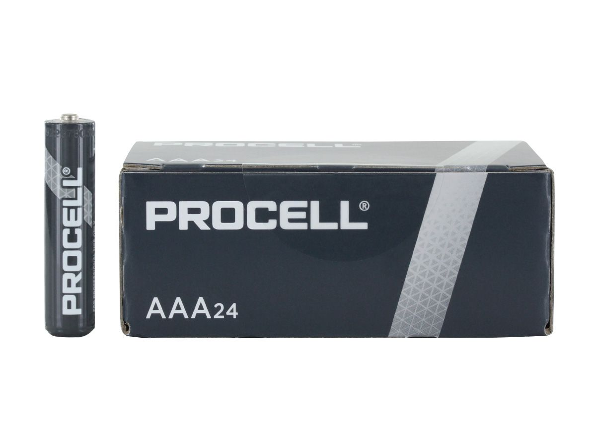 Size comparison between battery, 4-pack box, 24-pack box, and shipping container for Duracell Procell AAA batteries