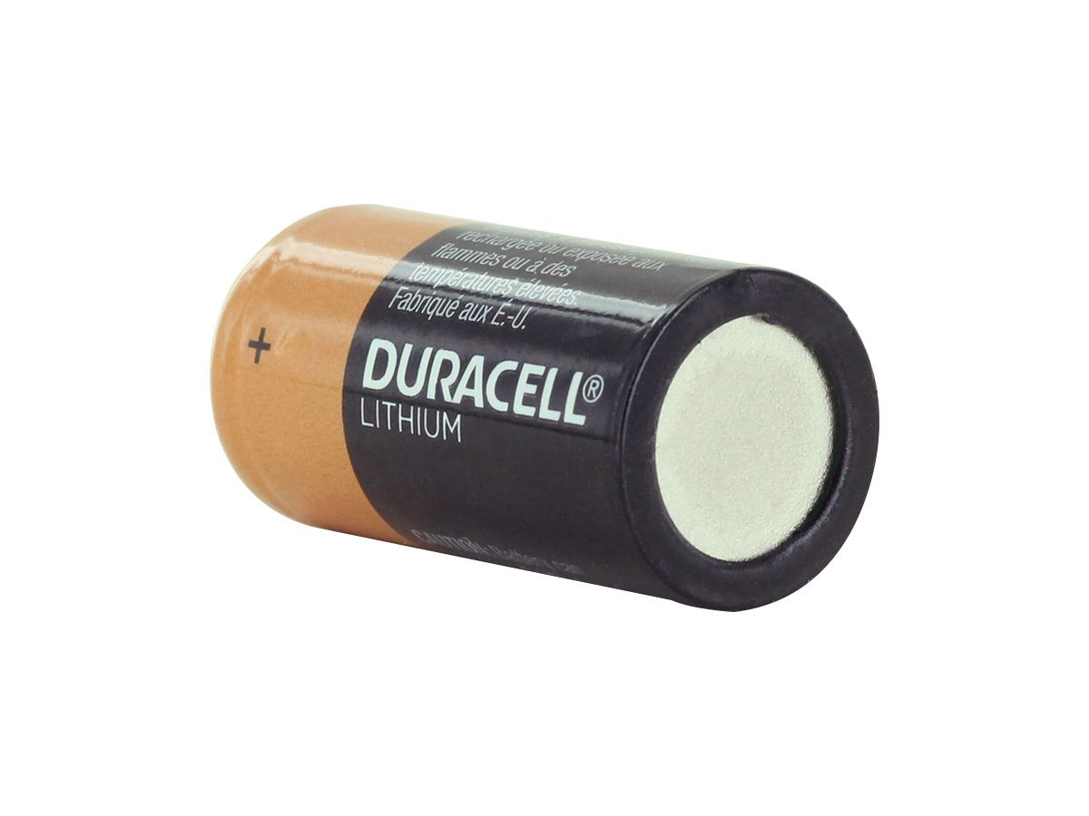 Duracell Ultra CR123A back side angle