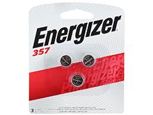 Energizer 1.5V 357 Silver Oxide Watch Batteries -3 Pack Blister Wide Card - Zero Mercury (357BPZ-3)