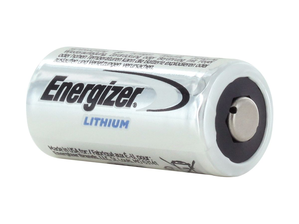 View of Button Top of Energizer CR123A Battery