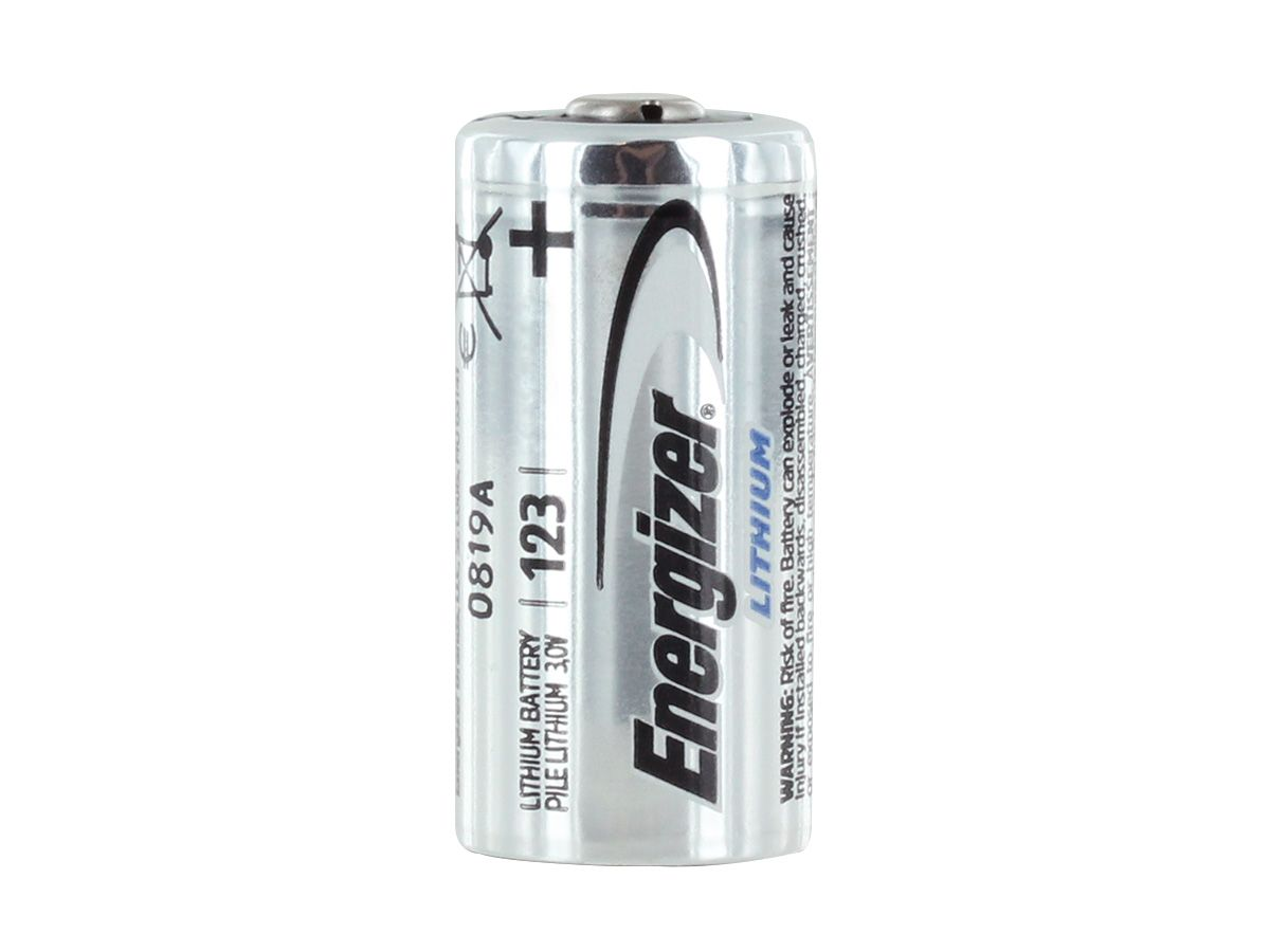 Energizer CR123A battery upright