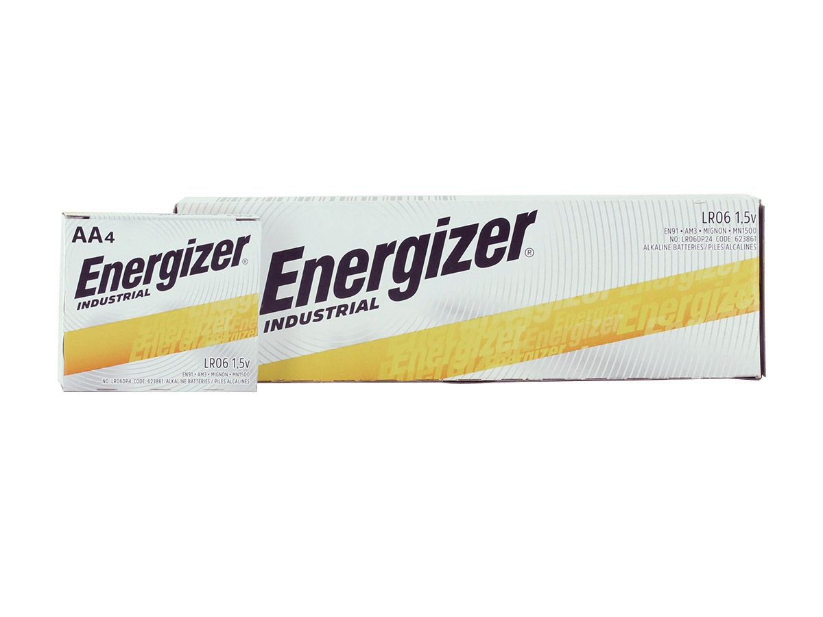 Energizer Industrial AA battery right side angle