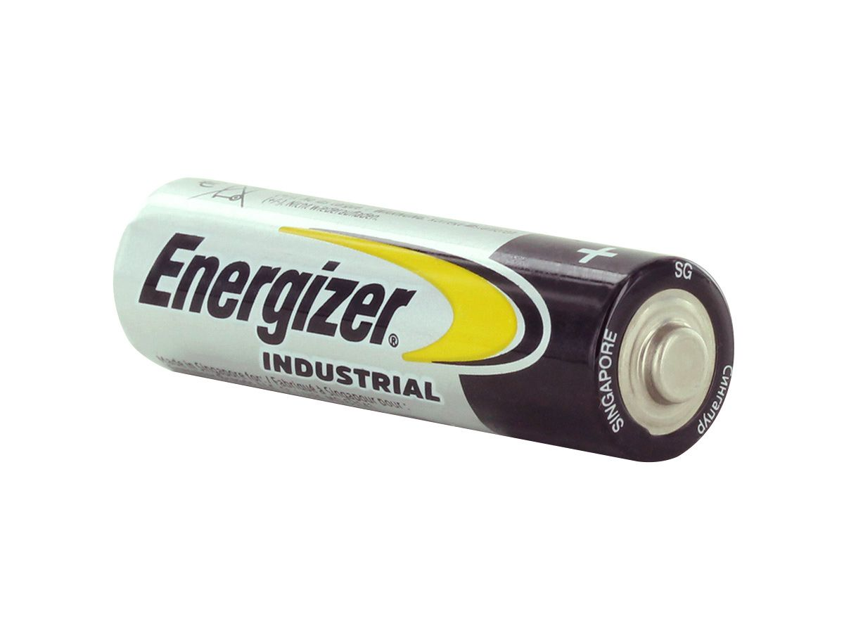 Energizer Industiral AA battery left side angle