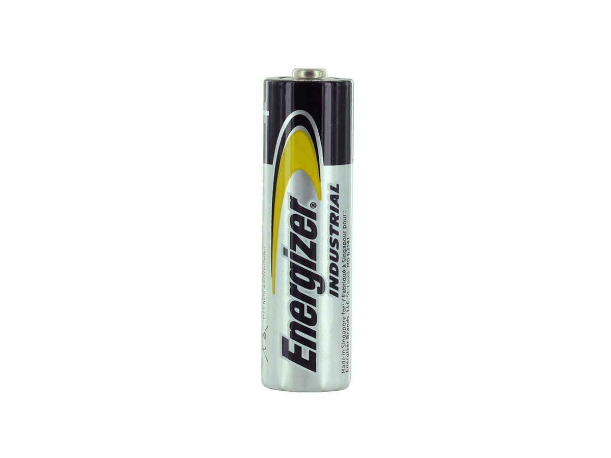 Packaging for 4 Energizer Industrial AA batteries