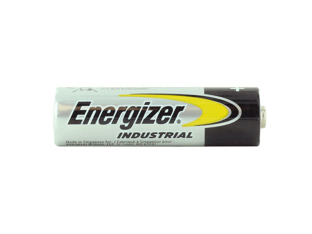Open box for 24 pack of Energizer Industrial AA batteries