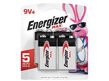 Energizer Max 522BP-4 9V Alkaline Battery with Snap Connector - 4 Pack Retail Card