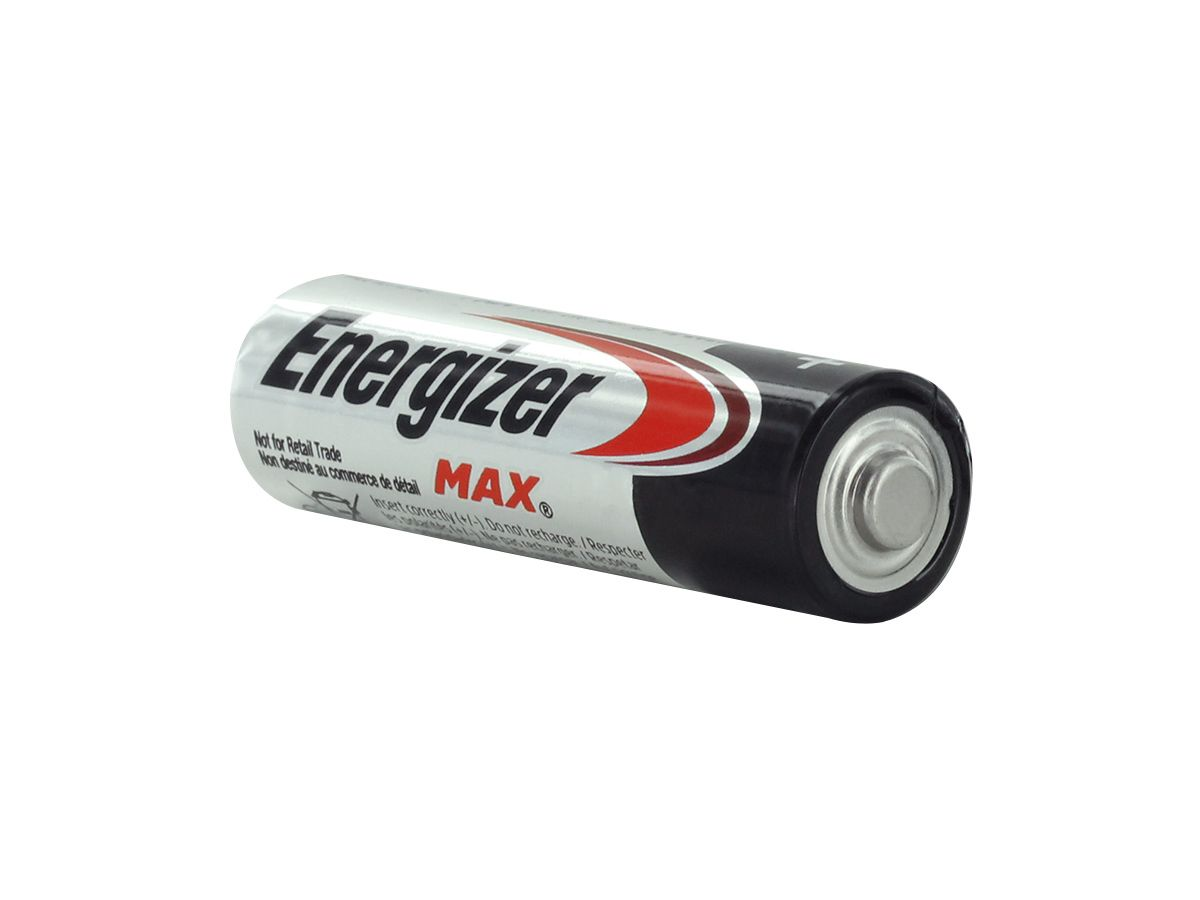 individual energizer max aa angled with positive terminal showing