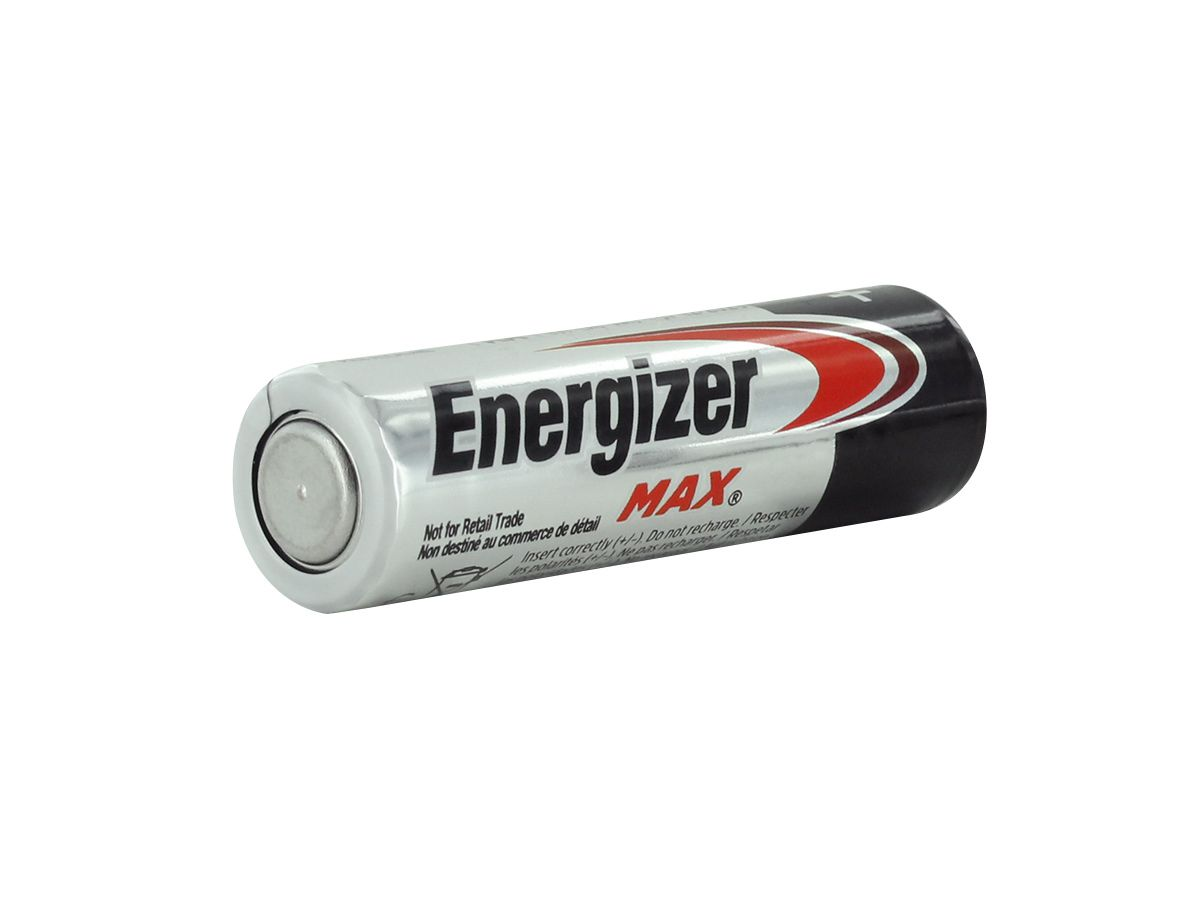 individual energizer max aa angled with negative terminal showing