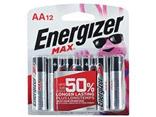 Energizer Max E91BW12EM AA 1.5V Alkaline Button Top Batteries - 12 Piece Blister Pack