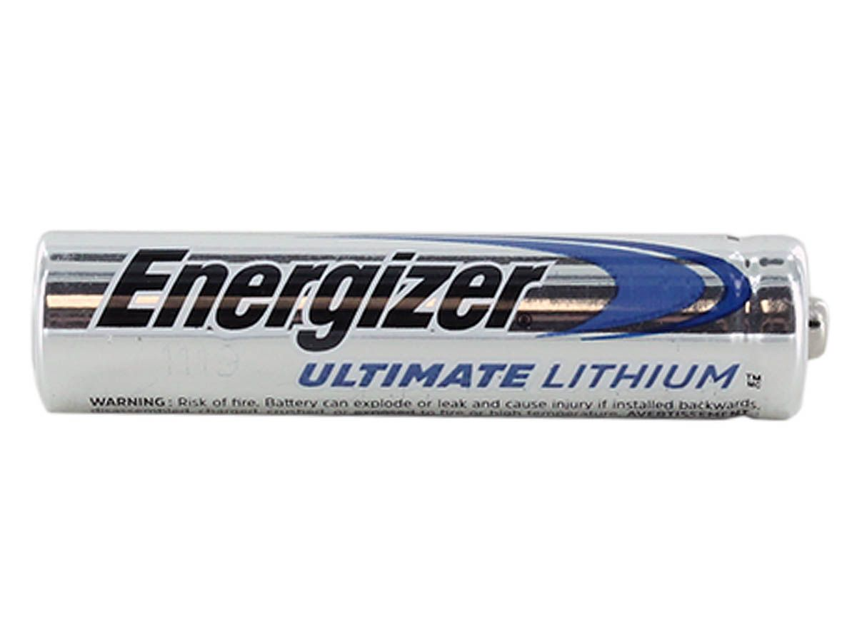 Single Energizer L92 lithium AAA battery side angle