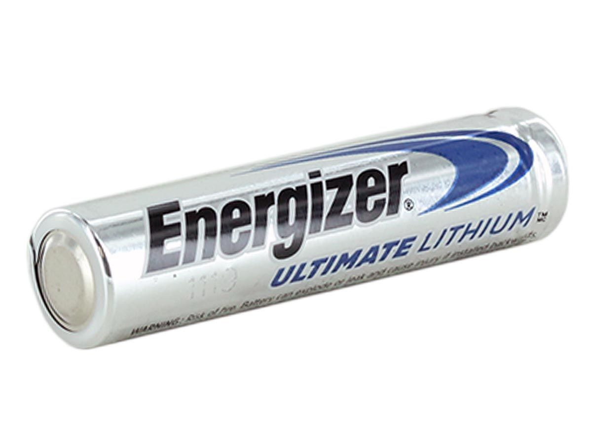Single Energizer L92 AAA lithium battery side profile