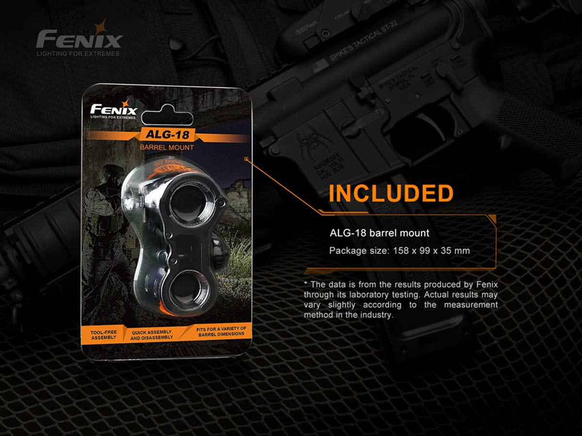 fenix manufacturer slide about what is included in the alg-18 package