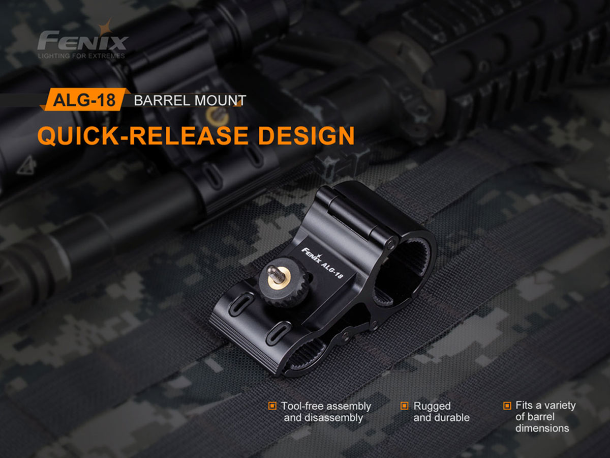 fenix manufacturer slide with main features about the alg-18 mount