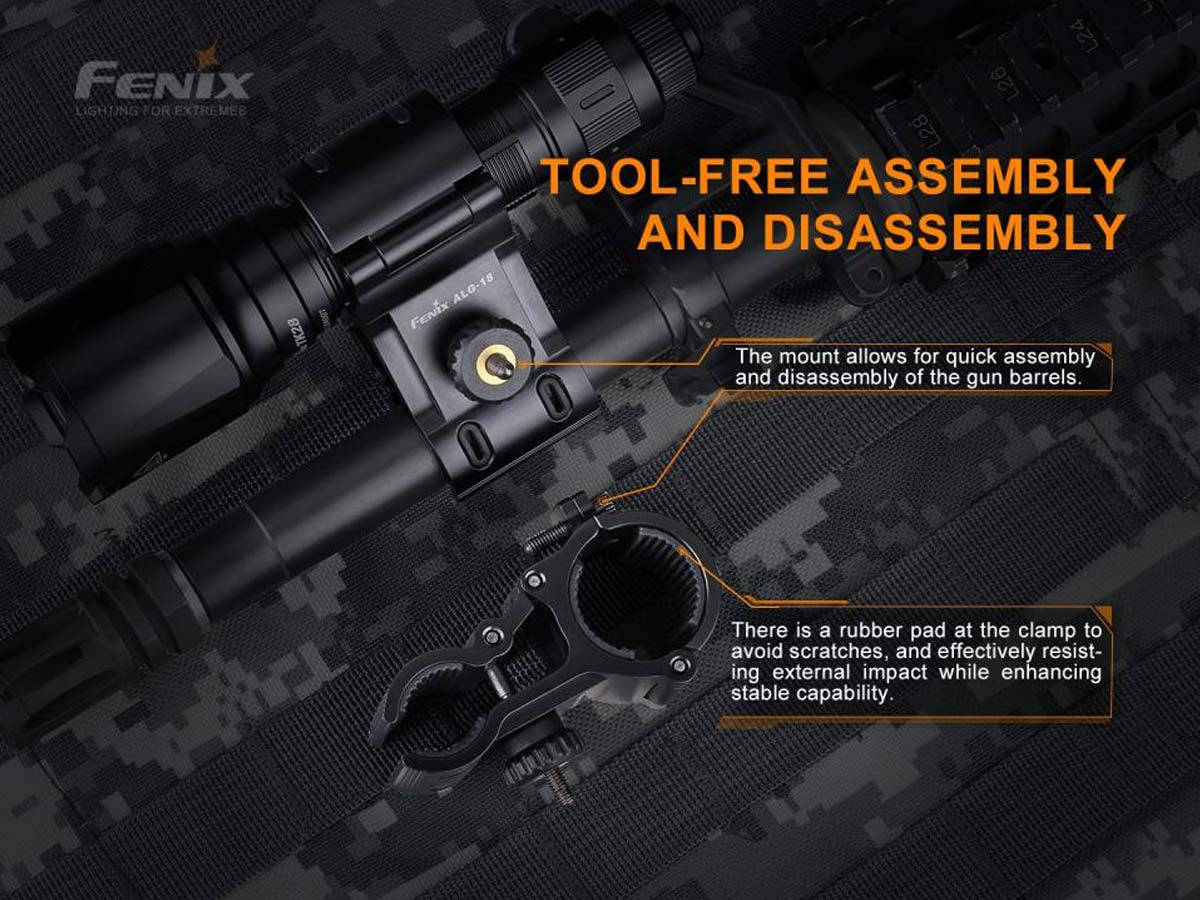 fenix manufacturer slide about alg-18 tool free assembly