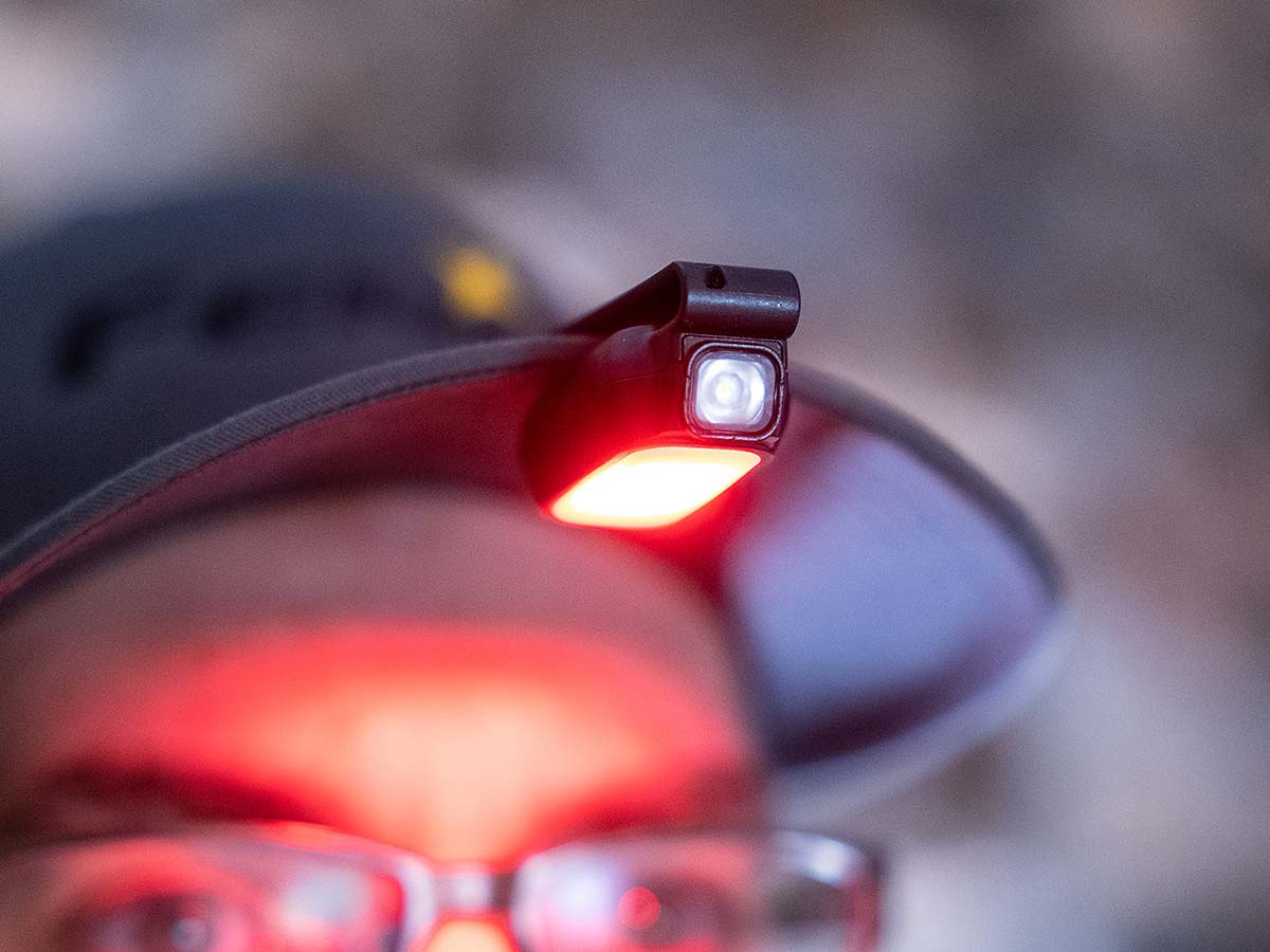 fenix e-lite on hat, red light