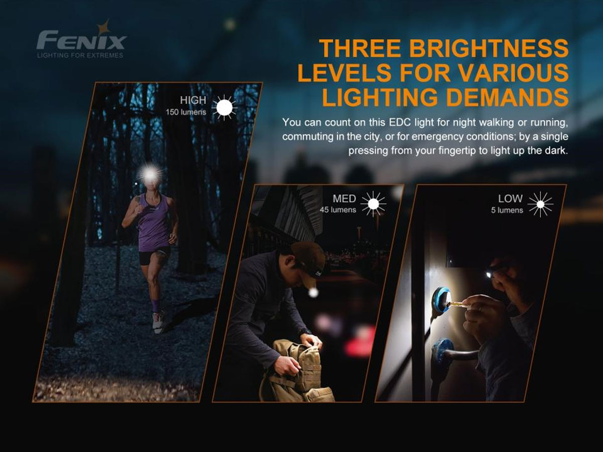 fenix manufacture slide about three brightness settings
