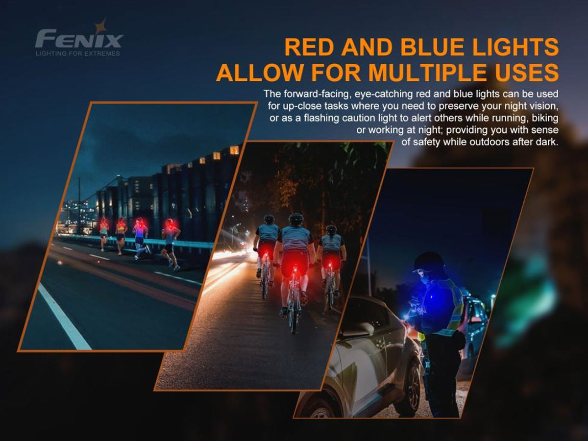 fenix manufacture slide about blue and red lights