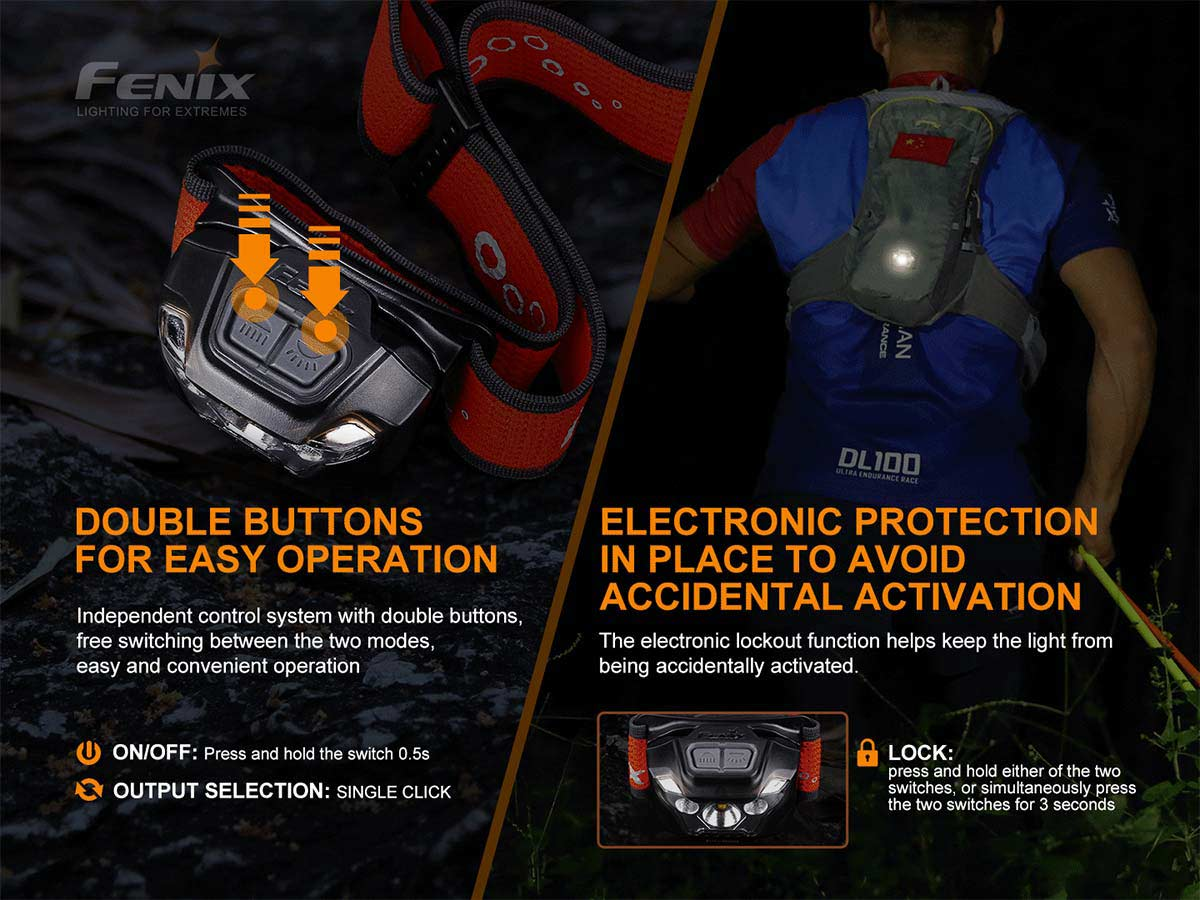 fenix hl18rt headlamp slide about dual buttons and lockout
