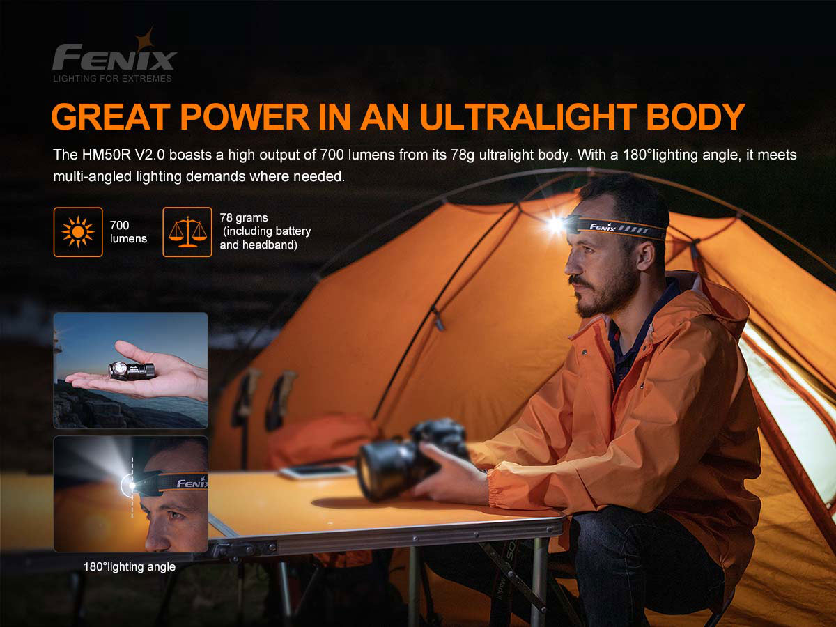 fenix hm50r v2 manufacturer slide about weight and max lumens