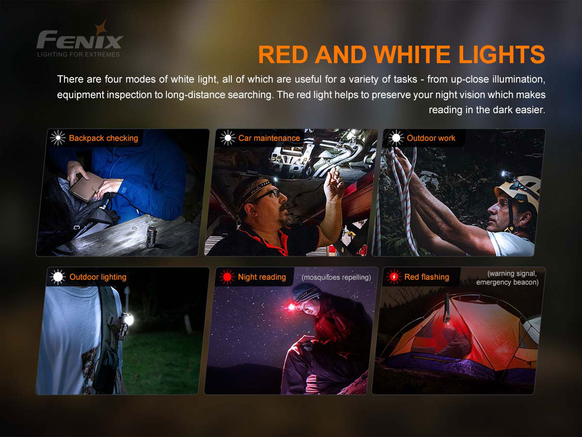 fenix hm50r v2 manufacture slide about red and white leds