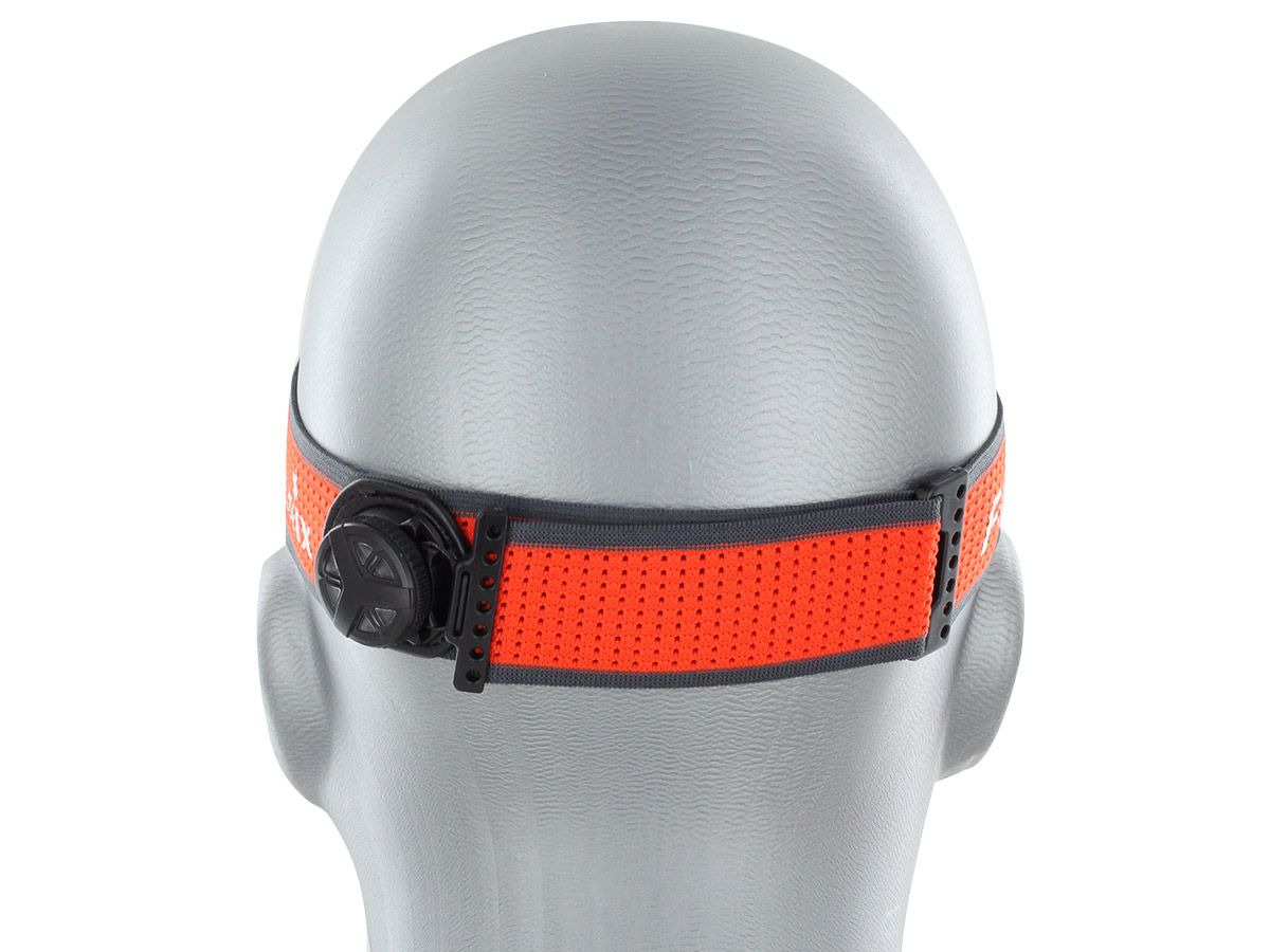 hm65r-t headlamp being worn by mannequin head, backside of band and head