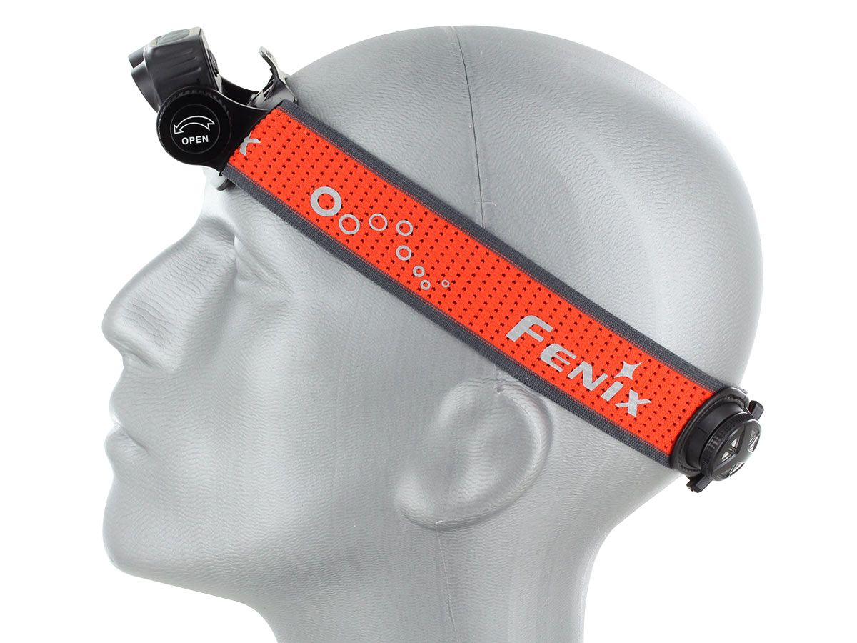 hm65r-t headlamp being worn by mannequin head, facing left with lamp angled down