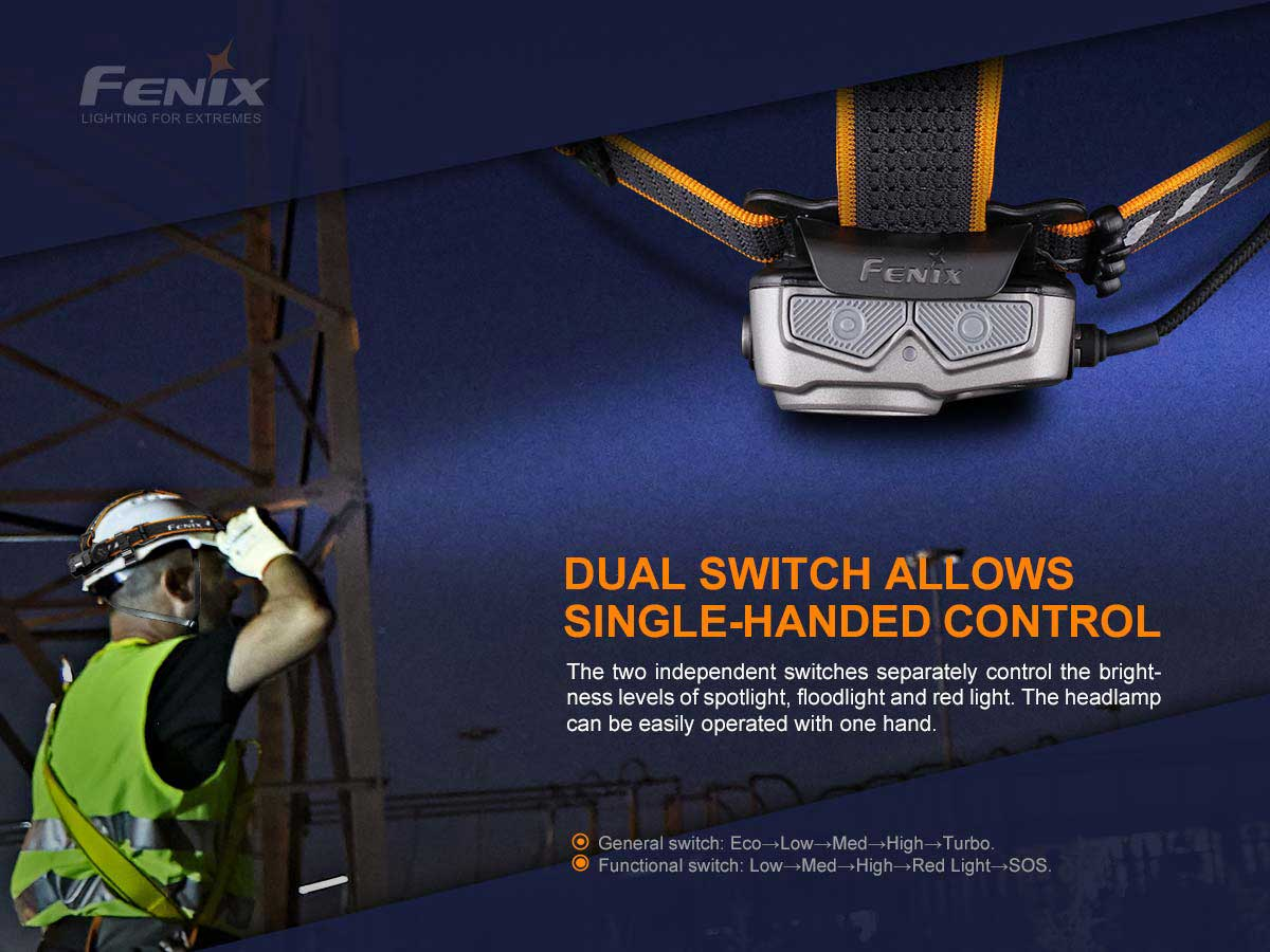 fenix hp25r v2 manufacturer slide about dual switches