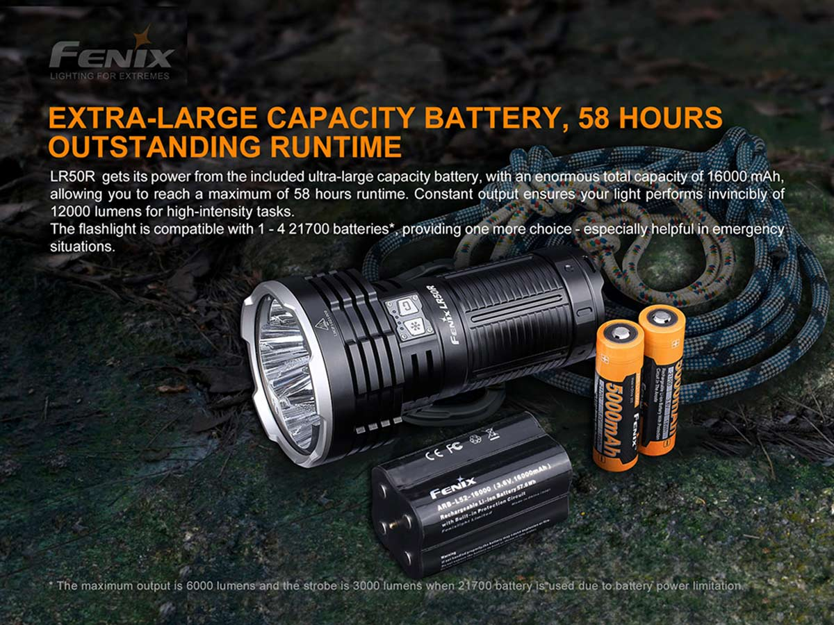fenix manufacture slide about battery pack and long run times