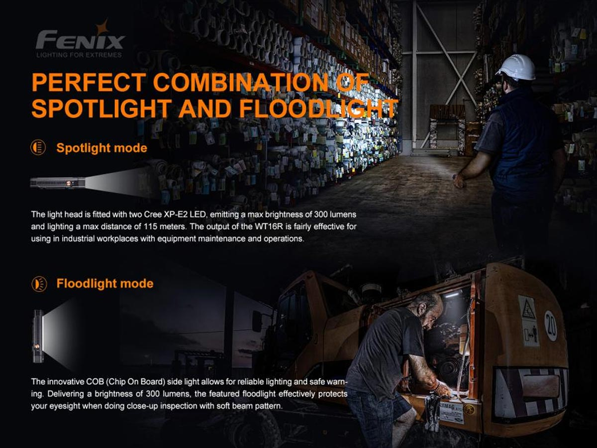 fenix manufacturer slide about spotlight and floodlight combo