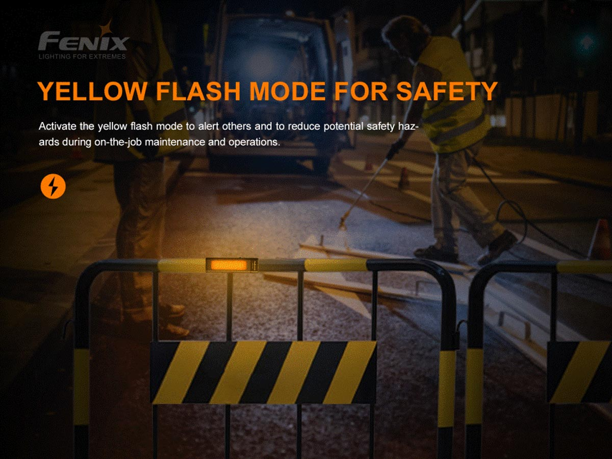 fenix manufacturer slide about yellow flashing mode