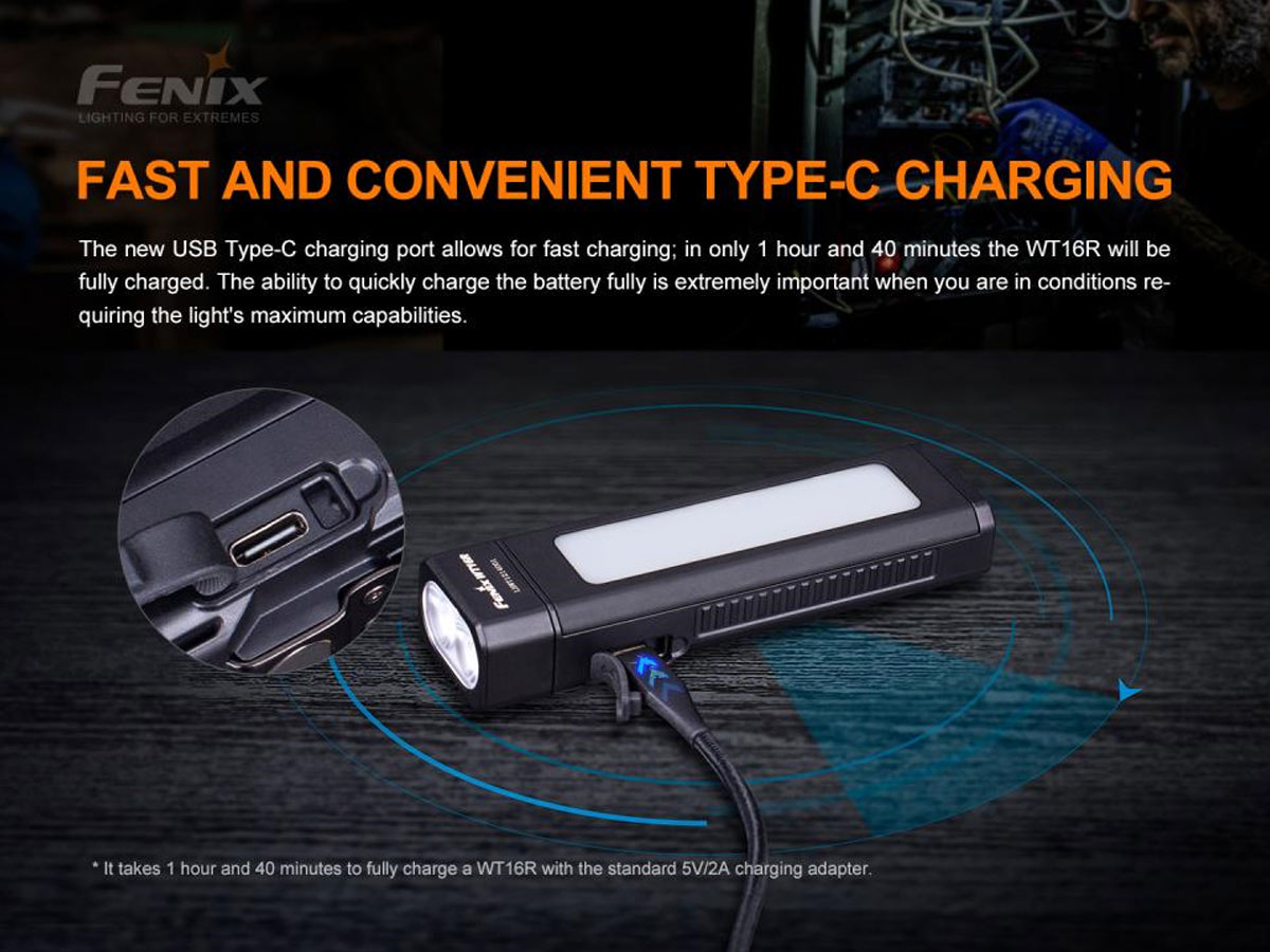 fenix manufacturer slide about fast usb-c charging