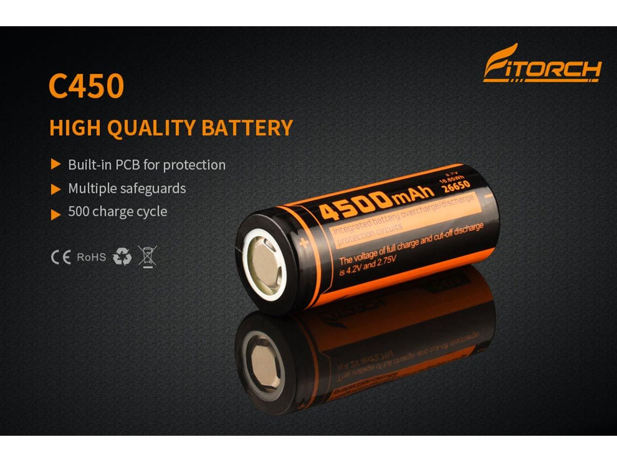 Fitorch C450 26650 Battery Slide 1