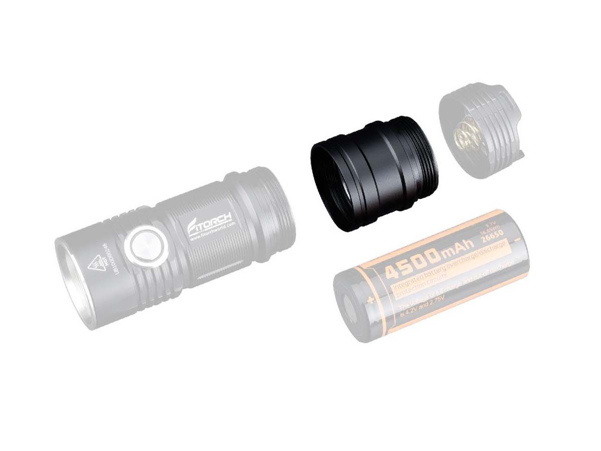 fitorch et25 extender tube black with p25 and battery compartment