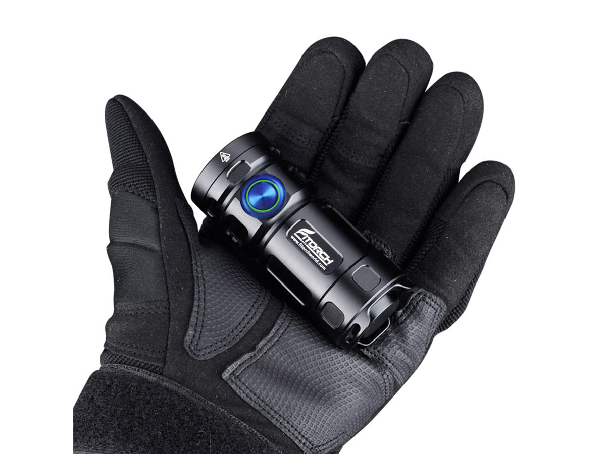 fitorch p25gt flashlight in gloved hand