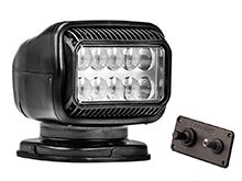 GoLight GT LED Permanent Mount Spotlight with Hardwired Dash Mount Remote - Black (20214GT)