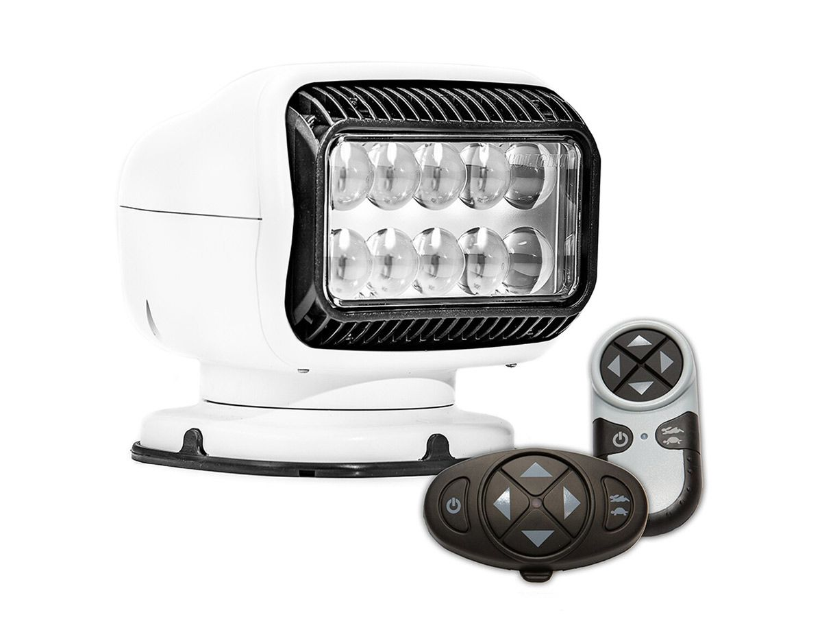white golight gt led spotlight permanent mount with both wireless remotes