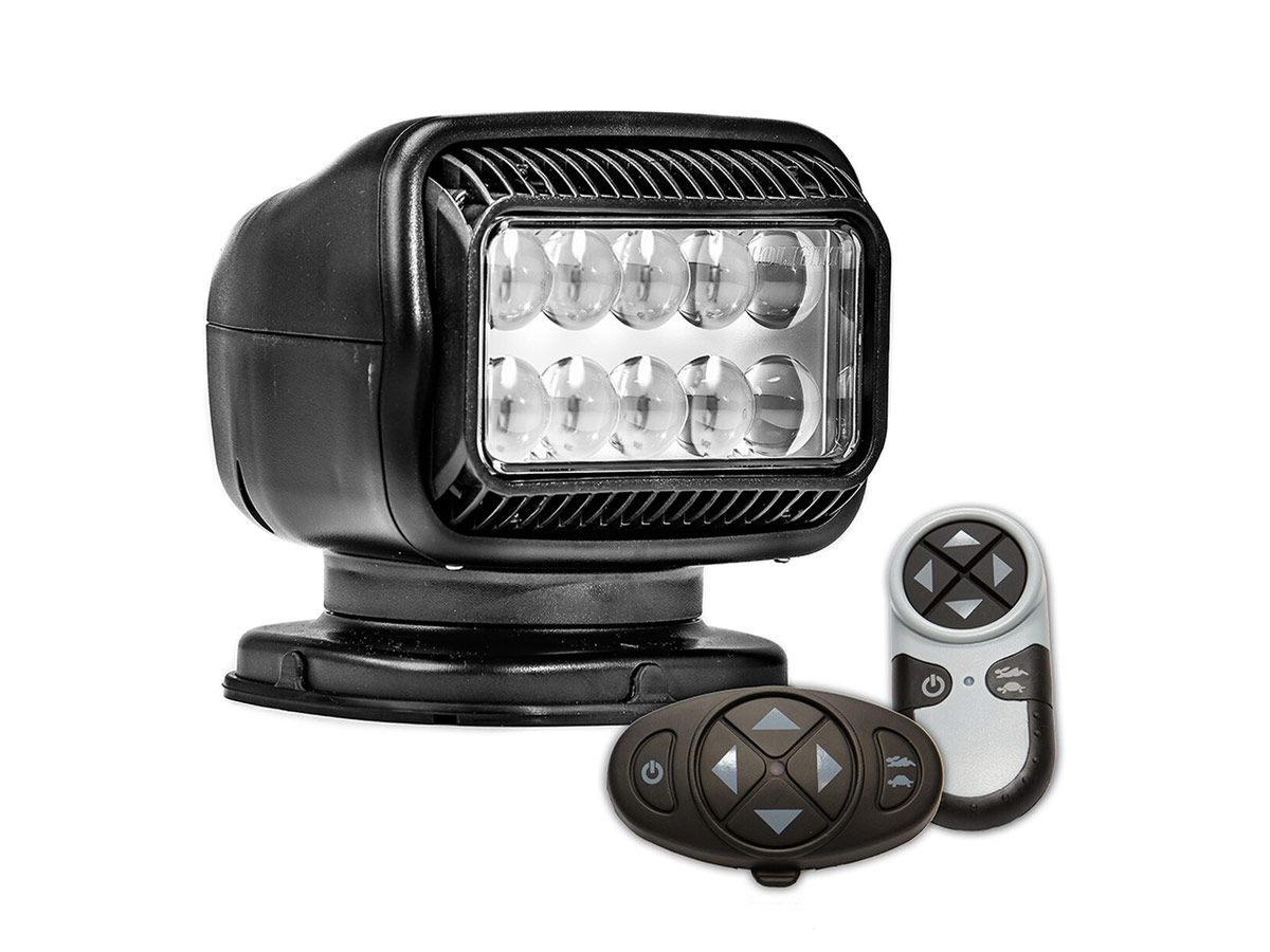 black golight gt led spotlight permanent mount with both wireless remotes