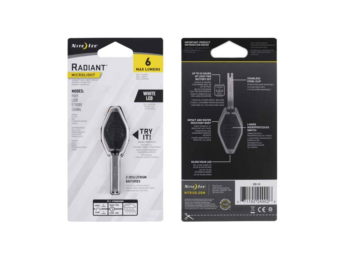 nite ize radiant microlight 2 white led packaging back and front