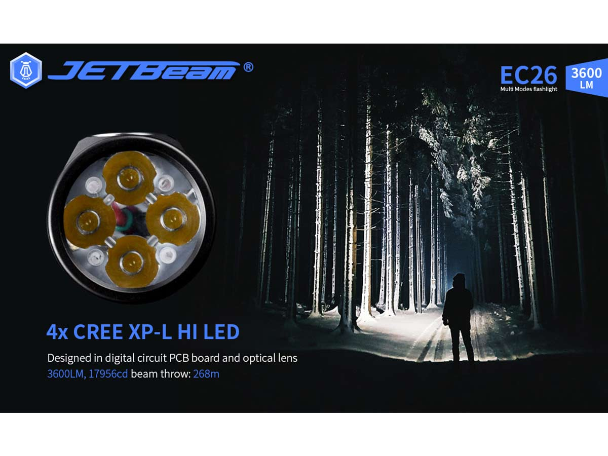 jetbeam manufacturer slide about 4 x cree leds