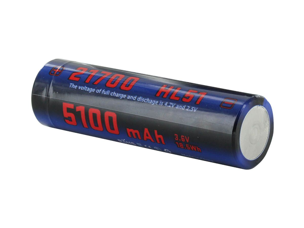 JETBeam HL51 21700 Battery - Diagonal Specifications - 5100mAh 3.6V 18.5Wh