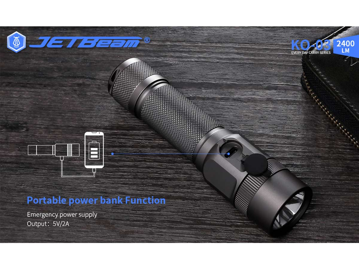 jetbeam ko-03 manufacturer slide about portable power bank functionality