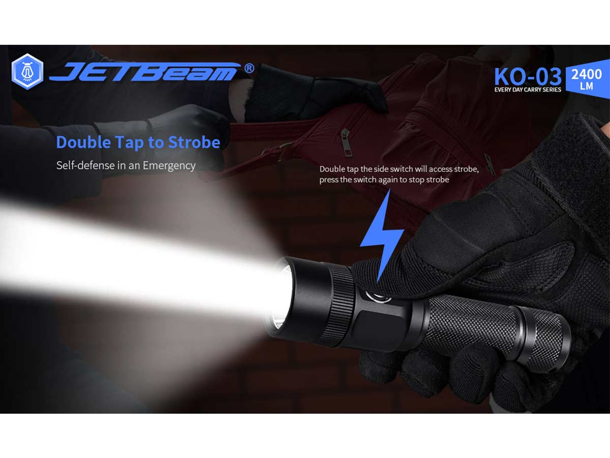 jetbeam ko-03 manufacturer slide about double tap to instant access to strobe
