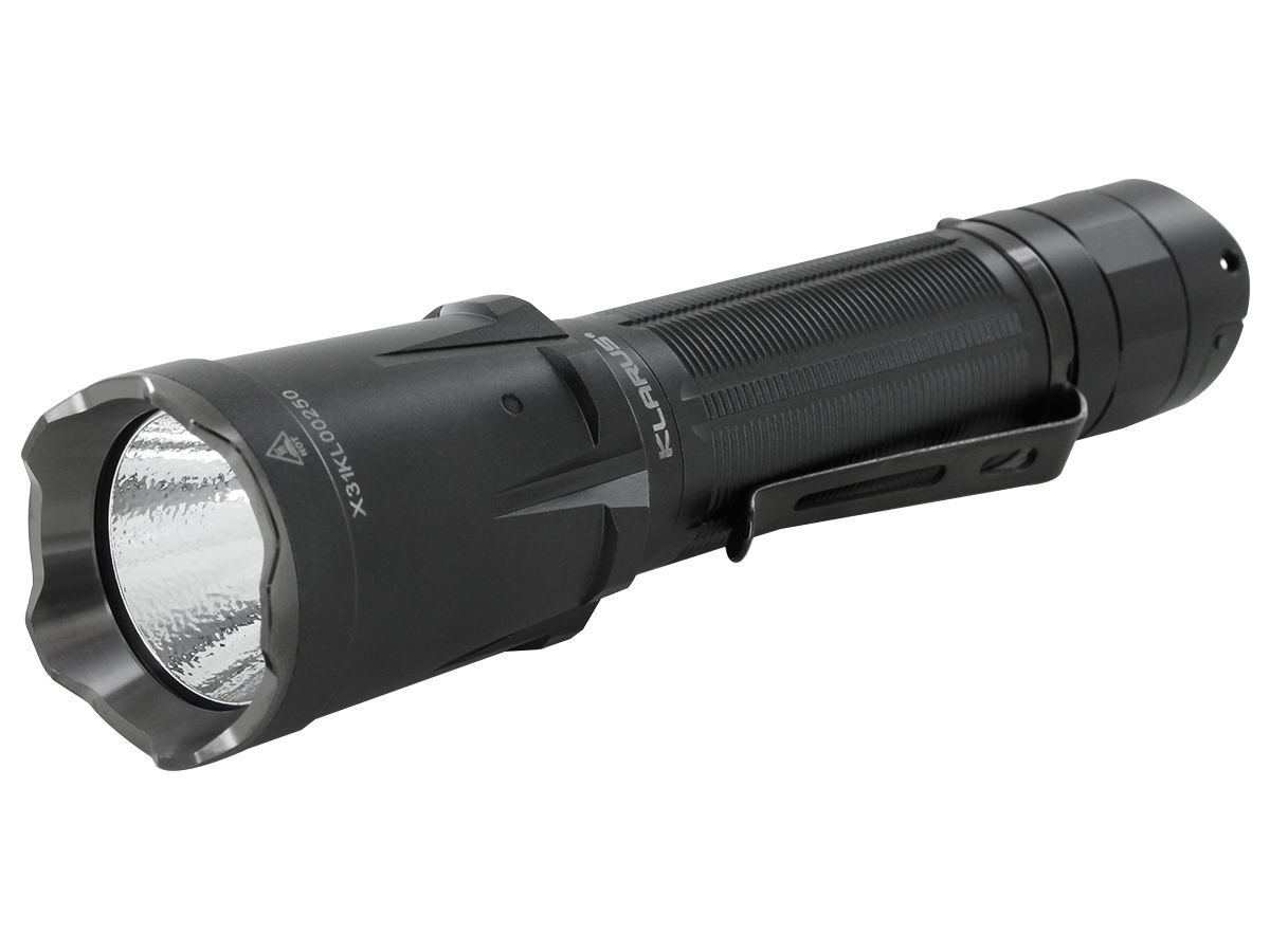Klarus XT21C Rechargeable LED Flashlight at an angle