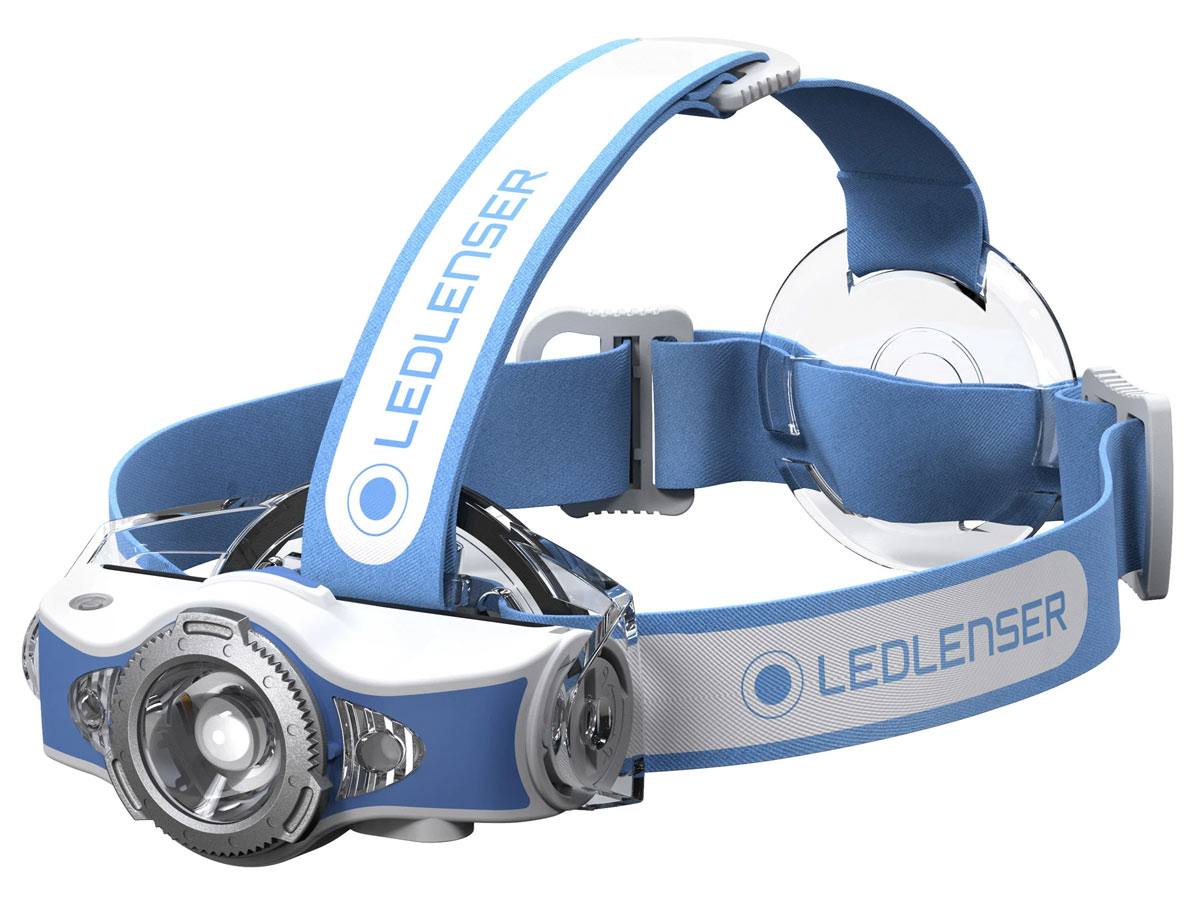 Ledlenser MH11 headlamp in blue left side angle